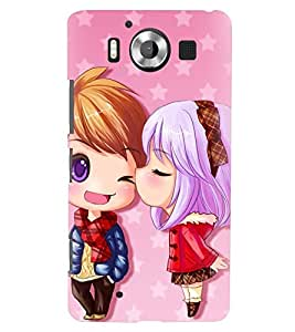 Printvisa Animated Girl And Boy In Love Back Case Cover for Nokia Lumia 950::Microsoft Lumia 950