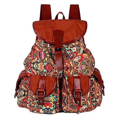 BAOSHA Vintage Canvas Rucksäcke Studenten Backpack Campus Schultaschen Schulrucksack für Frauen und Damen BP-01