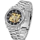 OrrOrr Automatikuhr Automatik Armbanduhr Skelett mechanische Uhr Edelstahl schwarz