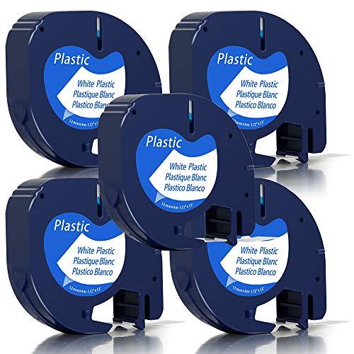 Unistar Kompatibel Etikettenband als Ersatz für Dymo 91221/S0721660 Letratag Kunststoff Etikettenband für LT-100H LT-100T XR, 5x Plastic white 12mm x 4m LetraTag Etikettenband (Schwarz auf Weiß)
