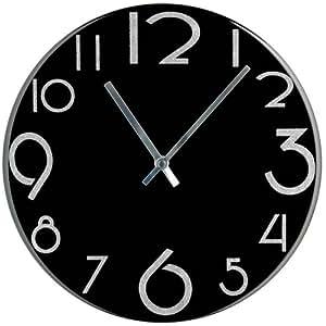 Premier housewares orologio da parete con numeri glitter for Parete bianca con glitter argento