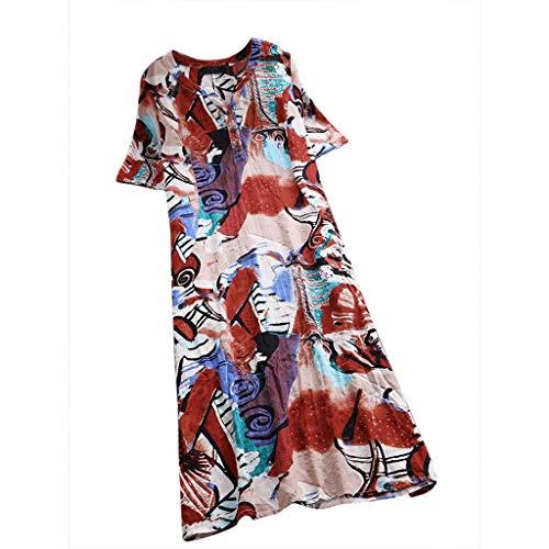 TUDUZ Vestido Largo Moda Mujer De Lino De Algodón con Cuello En V Vestido De Manga Corta Suelta (Rojo, M)