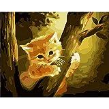 XIAOBAOZISZYH DIY-Digital-Set-Malerei Katze Auf Dem Baum Digitale Malerei Leinwand Wand Kunst Schaffung Zuhause Leben Dekoration.40 × 50 cm