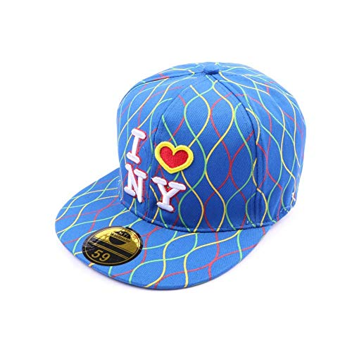 Hip Hop Honour Casquette NY Fitted Bleue avec Rayures - Mixte
