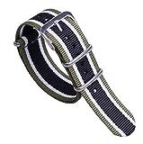 20 millimetri verde / bianco / nero premio multicolore stile unico NATO robusto nylon polso banda morbido orologio da uomo