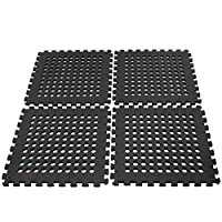 Easimat Black Climbing Frame Trampoline Safety Floor Mats With Hole (FED21006) (24 Mats)
