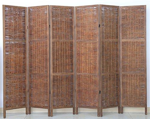 PEGANE Biombo de Madera y Mimbre de 6 Paneles, Color marrón - Dim : A