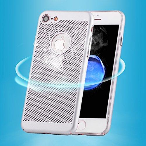 Wkae Leichter, atmungsaktiver voller Abdeckung PC Shockproof schützender rückseitiger Abdeckungs-Fall für iPhone 7 ( Color : Gold ) Silver
