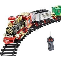 ZMH Clásico Eléctrico Dinámico Steam RC Track Train Set Modelo De Simulación De Juguete para Niños Recargable Niños Juguete De Control Remoto,2