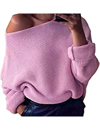Yiyou Jersey de punto de cuello ancho para mujer, hombros descubiertos, holgado