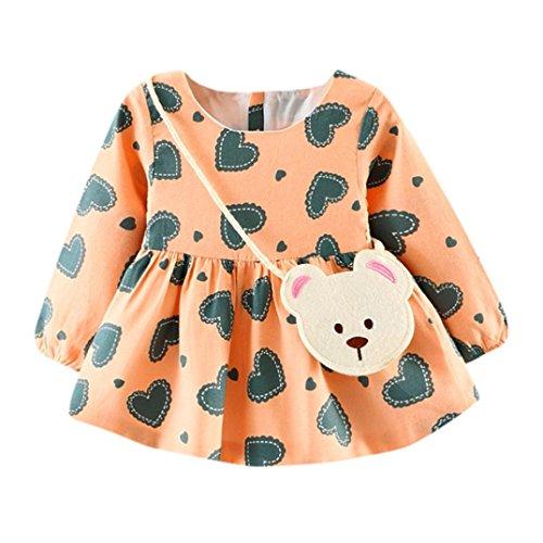 Baby Mädchen Kleid Longra Nettes Kleinkind Baby Herz-Druck Herbst lange Hülsen Prinzessin Kleid + Kleine Tasche(0-24Monate) (100CM 24Monate, Pink)