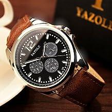 Relojes Hermosos, Alta calidad de lujo marrón negro de cuero genuino de cuarzo reloj de vestir de negocios de la muñeca relojes de pulsera hombres ( Color : White/Brown )