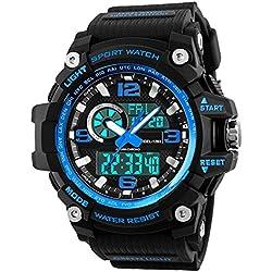 Relojes deportivos para hombre, resistente al agua digital militares relojes con cuenta atrás/Temporizador para los hombres niños grandes,LED de analógico relojes de pulsera para hombre - azul BHGWR
