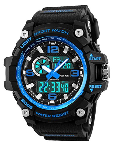 Relojes deportivos para hombre, resistente al agua digital militares relojes con cuenta atrás/Temporizador para los hombres niños grandes,LED de analógico relojes de pulsera para hombre   azul BHGWR