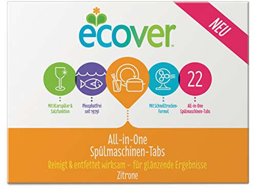 Ecover All-In-One Spülmaschinen-Tabs Zitrone, 440 g