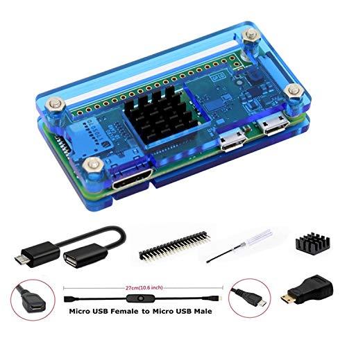 GeeekPi per Raspberry Pi Zero / Zero W Case, Raspberry Pi Zero Starter Kit con Custodia in acrilico, 20Pin GPIO Header, OTG Cable, Switch Cable, HDMI Adapter, Heatsink e Cacciavite (blu)