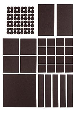 Premium Filzgleiter Set selbstklebend - 5x 200 x 200 mm + 64x Ø 20 mm (rund) - Möbelgleiter, Stuhlgleiter, Bodengleiter, Filz-untersetzer, Kratzschutz, Filz - selbst zuschneidbar - (braun) von Filzada - TapetenShop