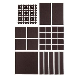 Premium Filzgleiter Set selbstklebend - 5x 200 x 200 mm + 64x Ø 20 mm (rund) - Möbelgleiter, Stuhlgleiter, Bodengleiter, Filz-untersetzer, Kratzschutz, Filz - selbst zuschneidbar - (braun)