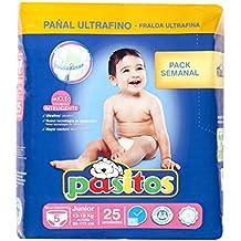 Pasitos - Pack semanal pañales bebés - Talla 5, 13-18 kg - 25 unidades - [pack de 6]