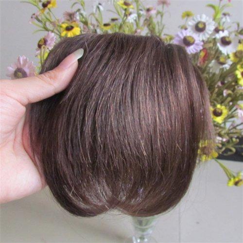 20,3 cm Brun moyen (# 04) Vrais Cheveux Humains Cheveux Fashion avant Neat Bang franges One cheveux