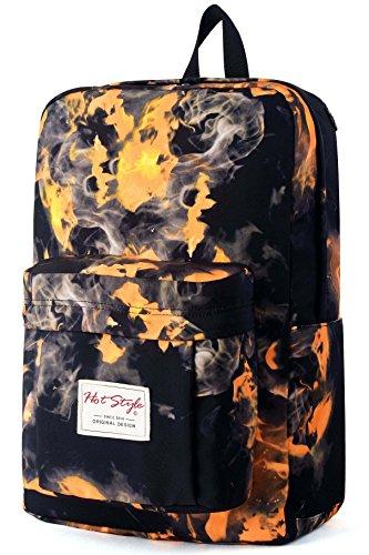HotStyle Flamme Muster Rucksack 24L - Wasserdichter für Laptop 15 zoll - Orange (Handtasche Shop Trendige)