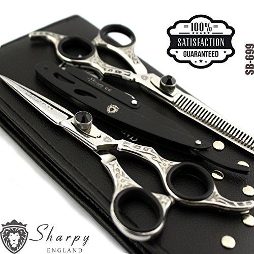 Nouveau Salon professionnel Coupe de cheveux + ciseaux à effiler Barbier Cisailles Set de coiffure 16,5 cm Barber rasoir Shavette Hair Tools Noir Argent ensemble cadeau