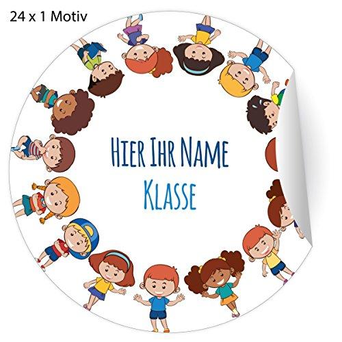 24 fröhliche, Custom Kinder Namens Aufkleber mit ihrem Adress Text, MATTE Papier Sticker für Geschenke, universal Etiketten für Schulbücher, Hefte, Deko (4,5cm)