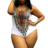 SANFASHION Frauen Plus Size Curve Appeal Dashiki afrikanischen Druck Push-up Jumpsuit Bademode Bikini