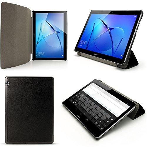igadgitz Premium Nero Eco-Pelle Smart Cover Custodia per Huawei MediaPad T3 10'' con Supporto Multi-Angle + Auto Sleep/Wake + Pellicola