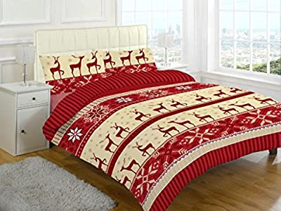 Flannelette Sheet sets stag printed new christmas bedding - inexpensive UK light shop.