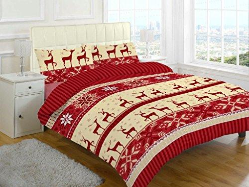 Set lenzuola in flanella cervo stampato biancheria da letto di Natale Nuovo, Nora Red, Doppio