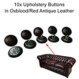 10 x 20 mm Oxblood/rot Leder Chesterfield Knöpfe mit Draht Rücken für traditionelle Tief Button Chesterfield Polstermöbel, Sofas, Stühle, Hocker handgefertigt in England – Antik Finish