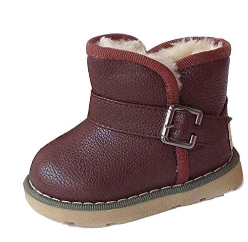 Winter Kinder Baby Jungen Mädchen Martin Stiefel Covermason Warm Leder Schuhe (21 (1-2 Jahre alt), Braun)