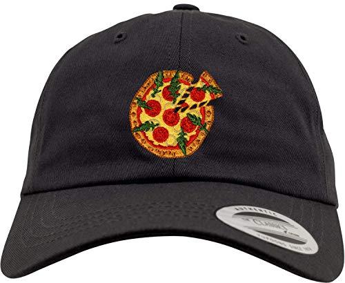 New Flexfit Basecap: Pizza - Low Profile Urban Cap/Hip-Hop Rap Kappe/USA/Emoticon/Emoji/Lustig-e Koch-Mütze/Pink/Rosa/Herren Damen/Schirm/Patch (Schwarz)