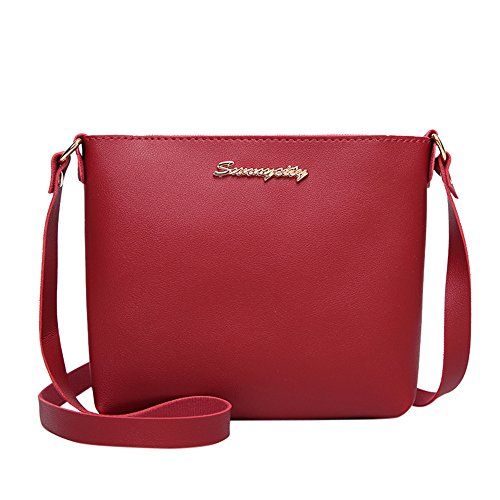 VJGOAL Damen Schultertasche, Damen Mädchen Mode Einfarbig Crossbody Reise Schulter Messenger Phone Münze Kleine Tasche (Rot)