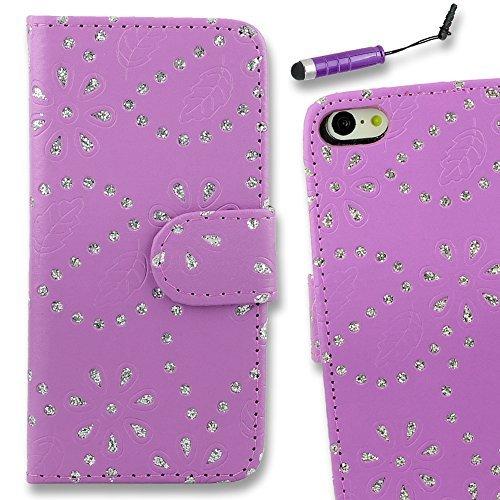 Connect Zone iPhone 5/5G/5S/SE haute qualité PU étui rabat portefeuille cuir Pochette + Protège Écran + Chiffon De Polissage Et Stylet - Violet Paillettes Diamant Porte-feuille, iPhone 5/5G/5S/SE