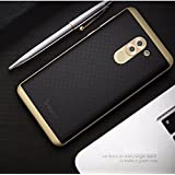 Audos PC Bumper & TPU Silicone Back Dual Layer Hybird Shockproof Back Cover Case For Huawei Honor 6X (Black with Gold)