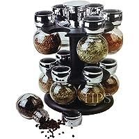 12 PIECE GLASS SPICE JAR SET REVOLVING RACK KITCHEN HOME