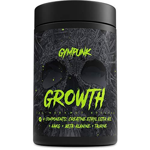 GYMPUNK GROWTH, Anabolic Support, 180 Kapseln für maximalen Pump und Muskelaufbau, mit Creatin Ethyl Ester HCL, AAKG, Taurin und Beta-Alanin -
