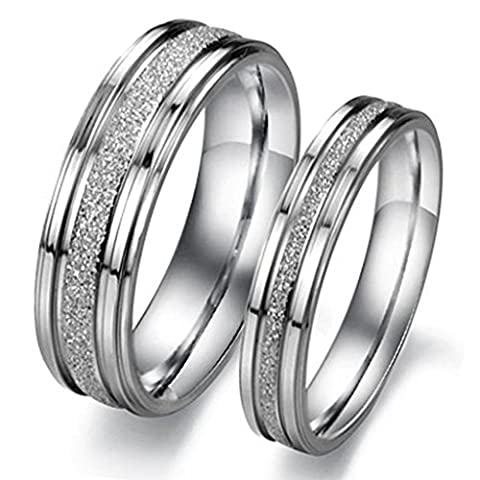 Bishilin Stainless Steel Fashion Mens Wedding Bands Clear Color Size J 1/2