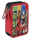 DISNEY Avengers - Astuccio Triplo completo con Colori, Pennarelli ed Accessori Scuola Hulk Thor Captain America Iron Man