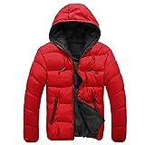 Herren Jacke Btruely Herbst Winter Männer Slim Mantel Langarm Dicker Mantel Warm Hooded Outwear (M, Rot)