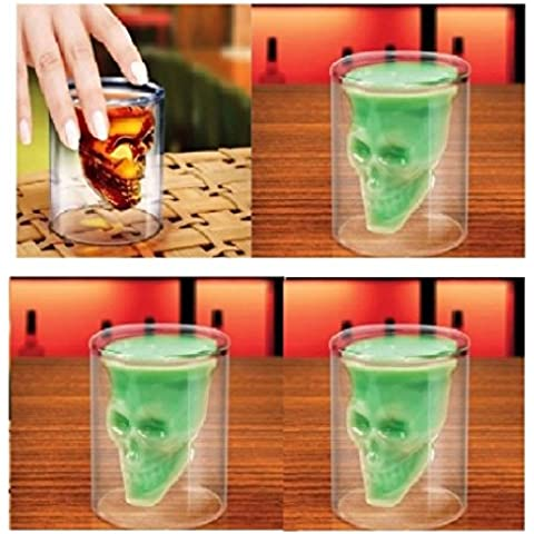 4 Pz Bicchiere a forma di Teschio trasparente, Bicchiere a forma di Teschio Pirata trasparente Bicchiere da Cocktail Caraffa da Birra contiene 2.5 once 75ml (4 skull)