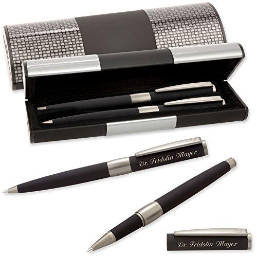 Senator Schreibset IMAGE BLACK LINE 6206 Kugelschreiber Tintenroller mit Laser-Gravur im LOGIC Geschenk-Etui