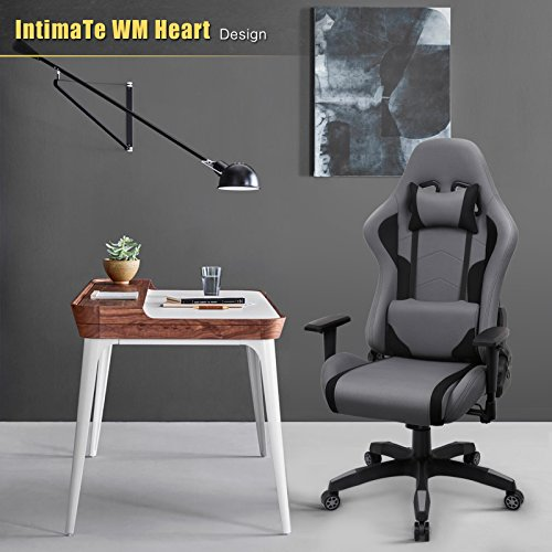 Pleasant Intimate Wm Heart Fabric Gaming Chair Grey Racing Office Machost Co Dining Chair Design Ideas Machostcouk