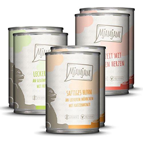MjAMjAM - Premium Nassfutter für Katzen - Mixpaket I - Huhn, Rind, Herzen, 6er Pack (6 x 400 g), getreidefrei mit extra viel Fleisch