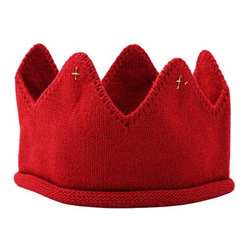 LnLyin Baby Gestrickte Krone Stirnband Beanie Mütze Hut Mdchen Jungen hkeln Haarschmuck Kinder Haarbnder Weiche Kopfbedeckung Kinder Geburtstagsgeschenke, Rot Plus Goldfaden, Als Beschreibung