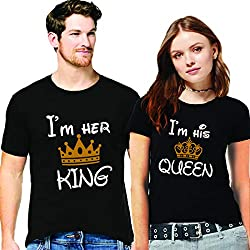 Hangout Hub Couple Tshirts I am her King I am His Queen with Golden Crown Printed Black Color Men-L,Women-M