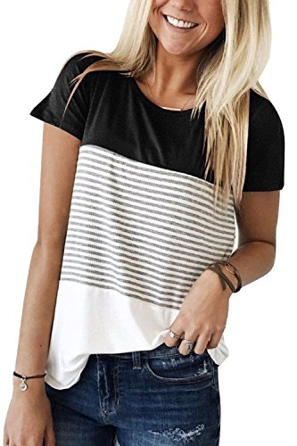 Dasbayla Ladies Short Sleeve T Shirt Casual Triple Colour Block Stripe Blouse Tops
