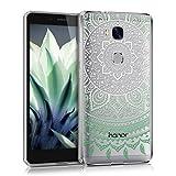 kwmobile Funda para Huawei Honor 5X / GR5 - Carcasa de [TPU] para móvil y diseño de Sol hindú en [Menta/Blanco/Transparente]